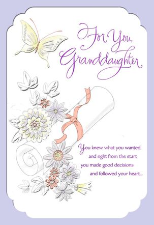 Butterfly Scroll Graduation Card for Granddaughter