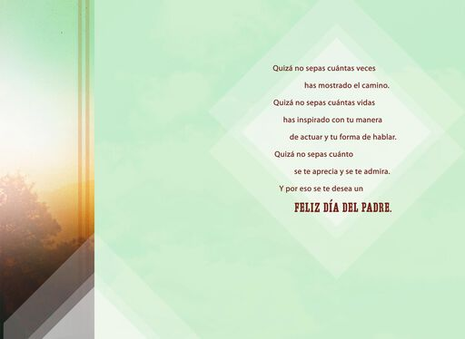 You Show the Way Sunset Spanish-Language Father's Day Card,