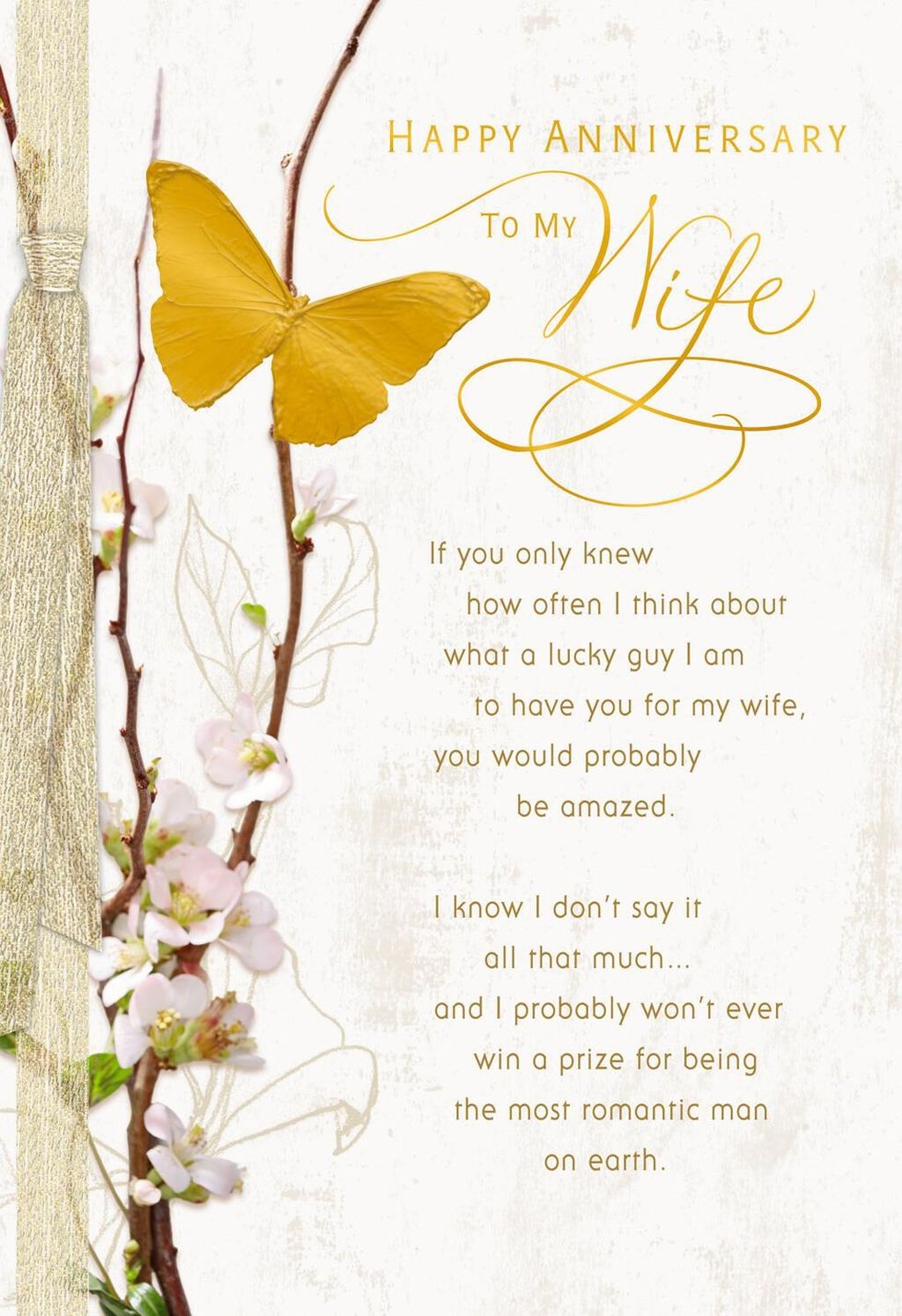 Gold Butterfly Anniversary Card For Wife Greeting Cards Hallmark