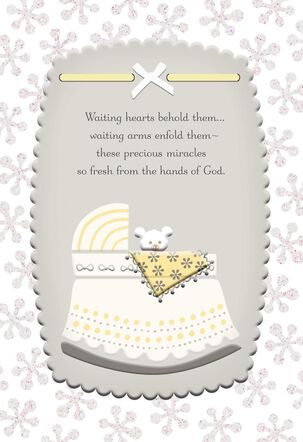 Crib With Little Bear Religious New Baby Card