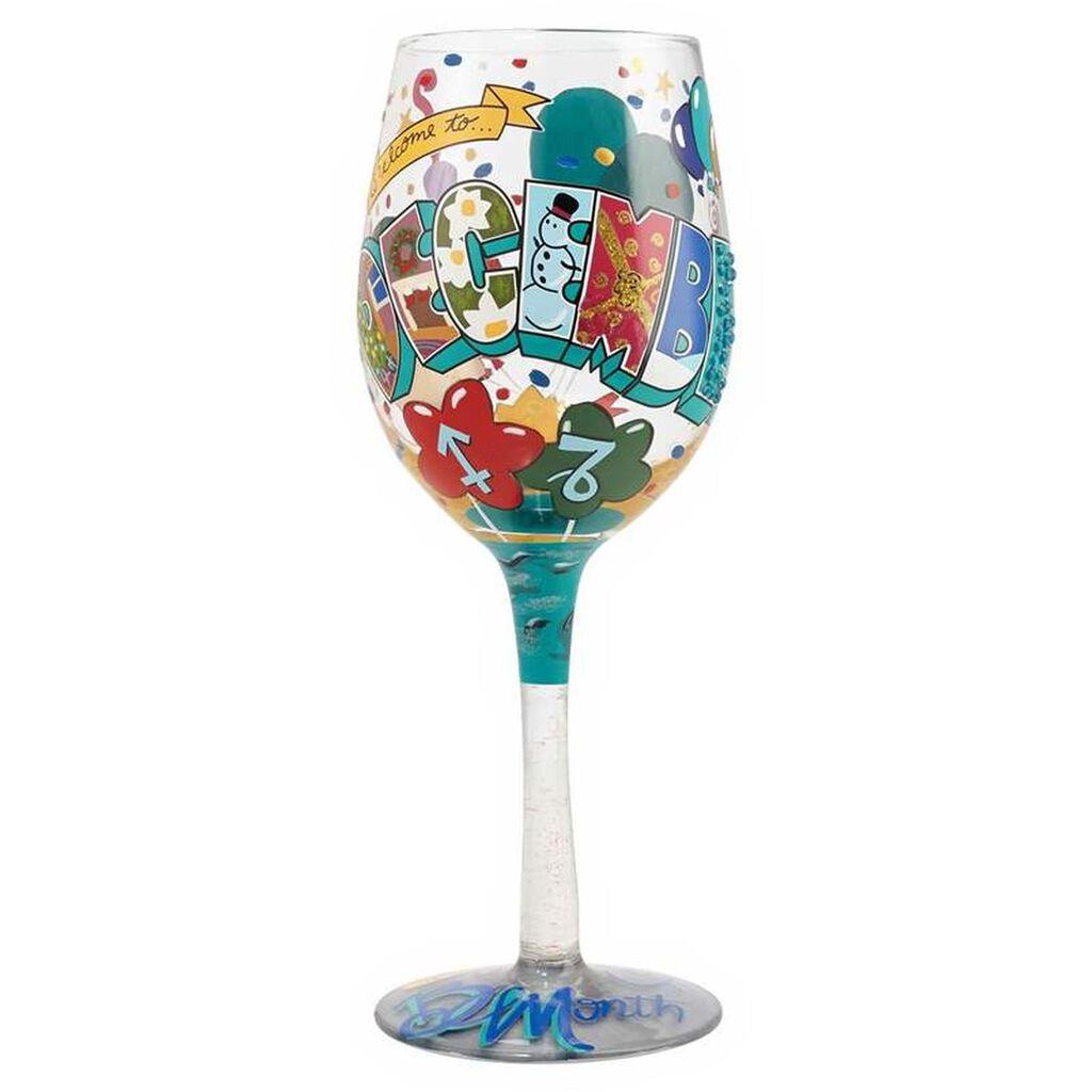 LolitaR December Birthday Month Handpainted Wine Glass 15 Oz