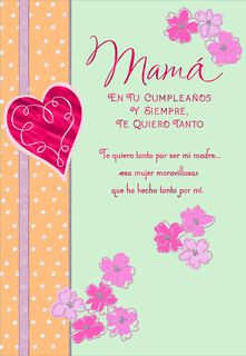 Heart and Flowers Birthday Card for Mom,