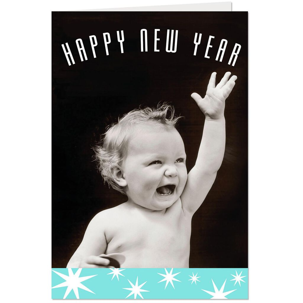baby and stars new year cards
