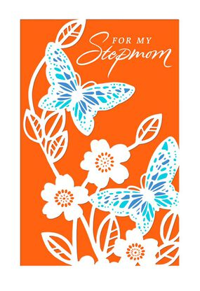 Butterflies And Flowers Birthday Card For Stepmom
