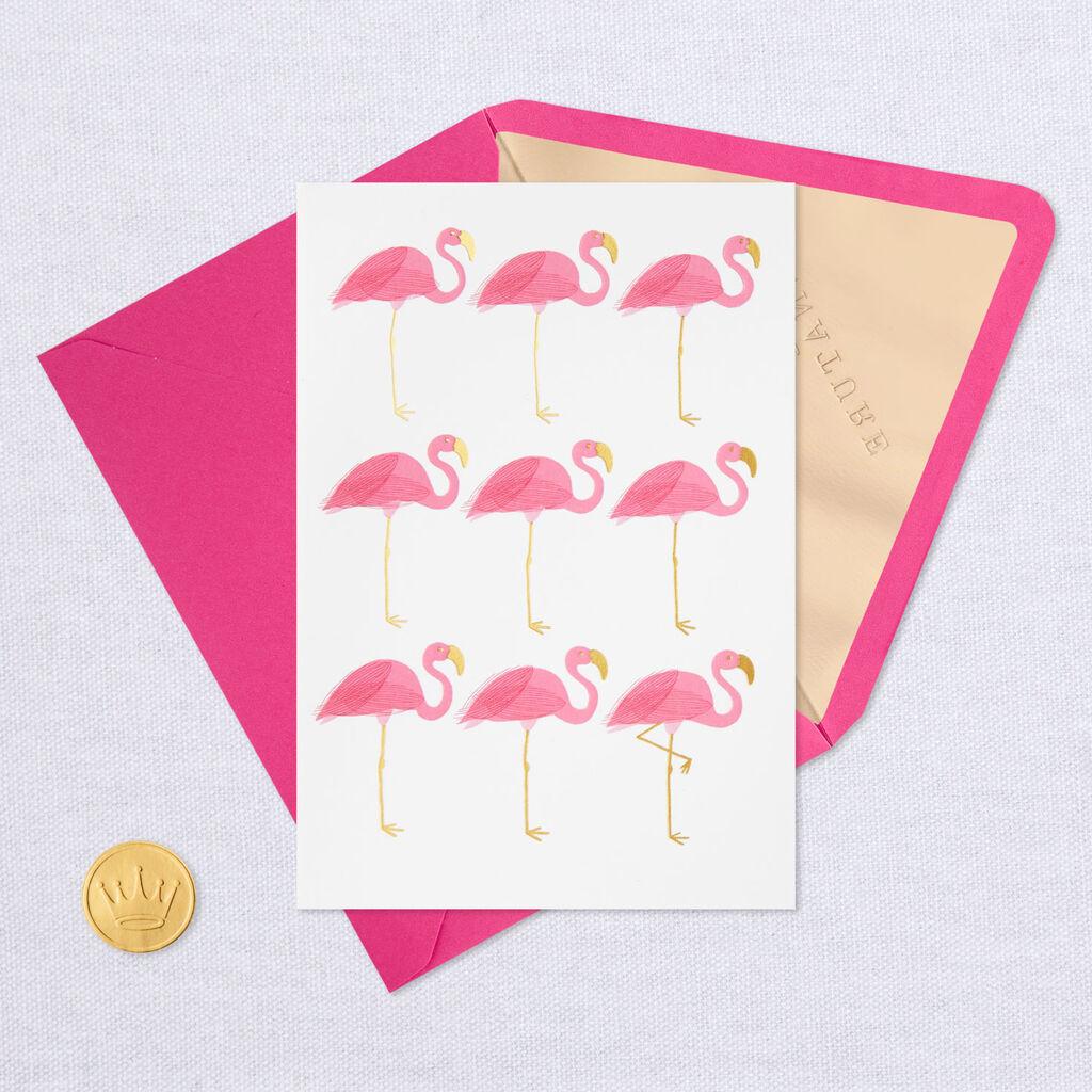 nine flamingos blank card  greeting cards  hallmark