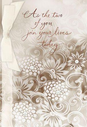 Ribbon and Pearls Wedding Card