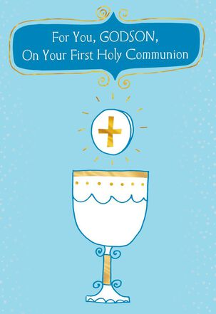 Chalice and Cross for Godson First Communion Card