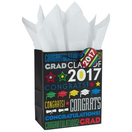 "Congrats 2017 Grad Medium Gift Bag With Tissue Paper, 9.5"", , large"