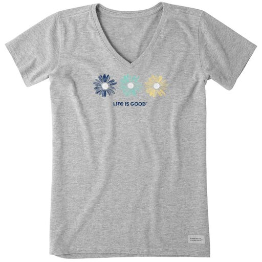 217fbd3e398 Life is Good Women s 3 Daisies V-Neck T-Shirt