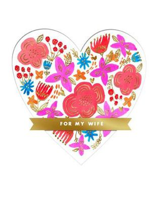 Die-Cut Floral Heart Wife Valentine's Day Card