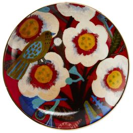 Bold White Flowers Ceramic Dessert Plate, , large