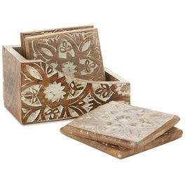 Square Wood With Etched White Flowers Coasters, Set of 4, , large