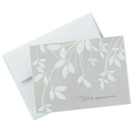 Cream Leaves Sympathy Thank You Notes, Box of 10, , large