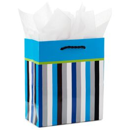 "Blue Stripes Small Gift Bag With Tissue Paper, 6.5"", , large"