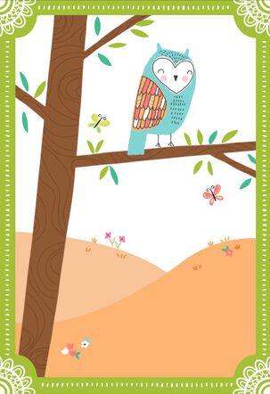 Owl in Tree Blank Card