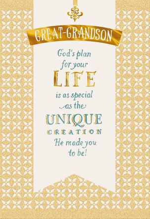 God's Plan Confirmation Card for Great-Grandson