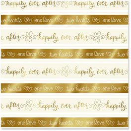 Happily Ever After Gold Wrapping Paper Roll, 22.5 sq. ft., , large