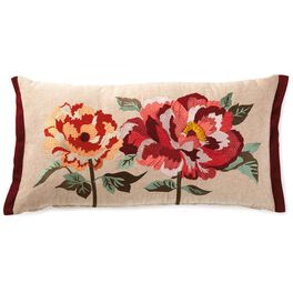 Heritage Peony Embroidered Pillow, , large