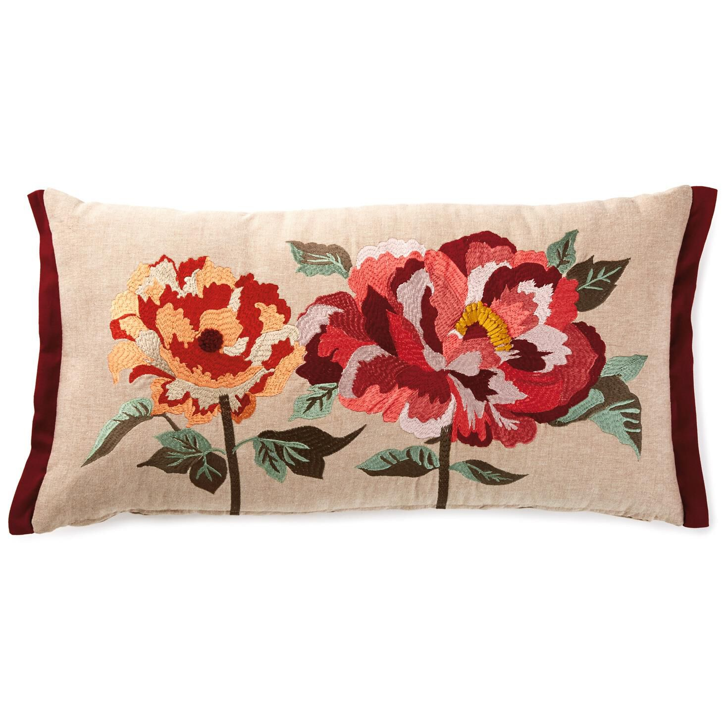 heritage peony embroidered pillow