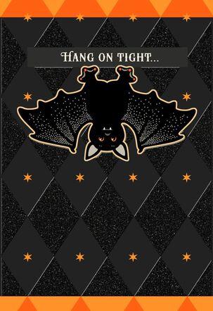 Hanging Around Glittery Bat Halloween Card