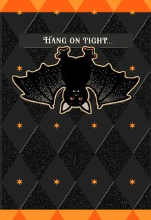 Hanging Around Glittery Bat Halloween Card,