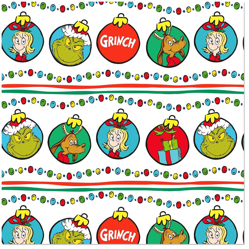 Christmas Grinch.Dr Seuss Grinch Characters Christmas Wrapping Paper 35 Sq Ft