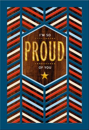 Red, White and Blue Chevron Military Thinking of You Card
