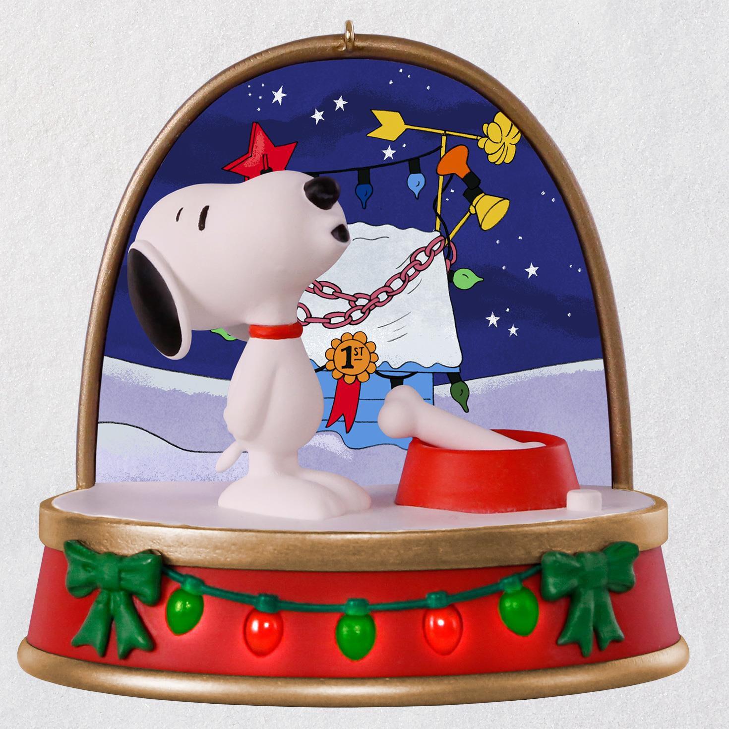 a charlie brown christmas snoopy ornament with sound and light keepsake ornaments hallmark - Charlie Brown And Snoopy Christmas Decorations
