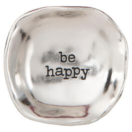 Natural Life Be Happy Silver Mini Trinket Tray, , large