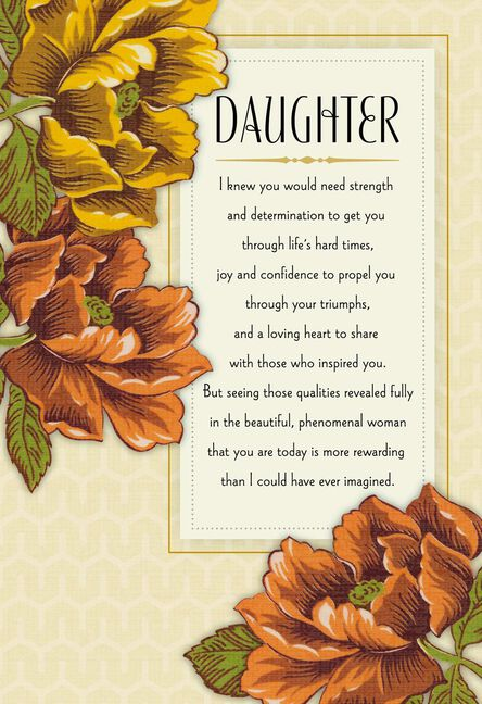 Orange And Yellow Flowers Birthday Card For Daughter Greeting