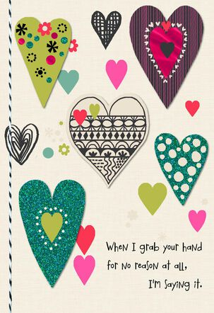 Patterned Hearts Anniversary Card