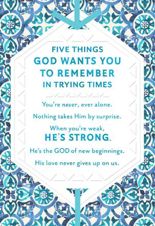 God Is Your Strength Religious Encouragement Card
