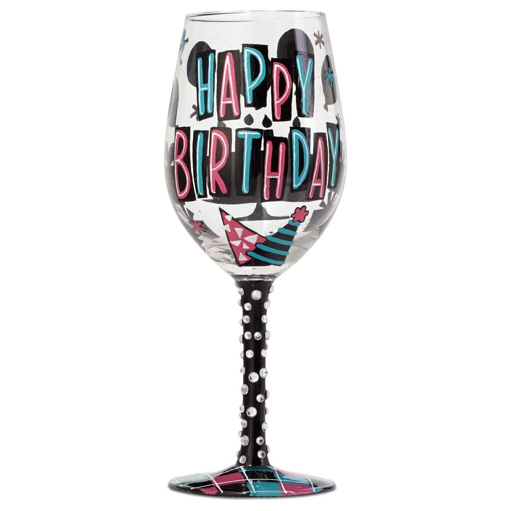 LolitaR Happy Birthday Handpainted Wine Glass 15 Oz