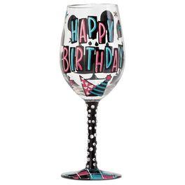 Lolita® Happy Birthday Handpainted Wine Glass, 15 oz., , large