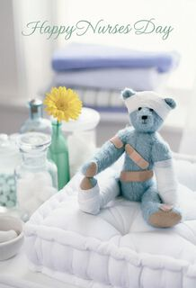 Bandaged Teddy Bear Nurses Day Thank You Cards, Pack of 6,