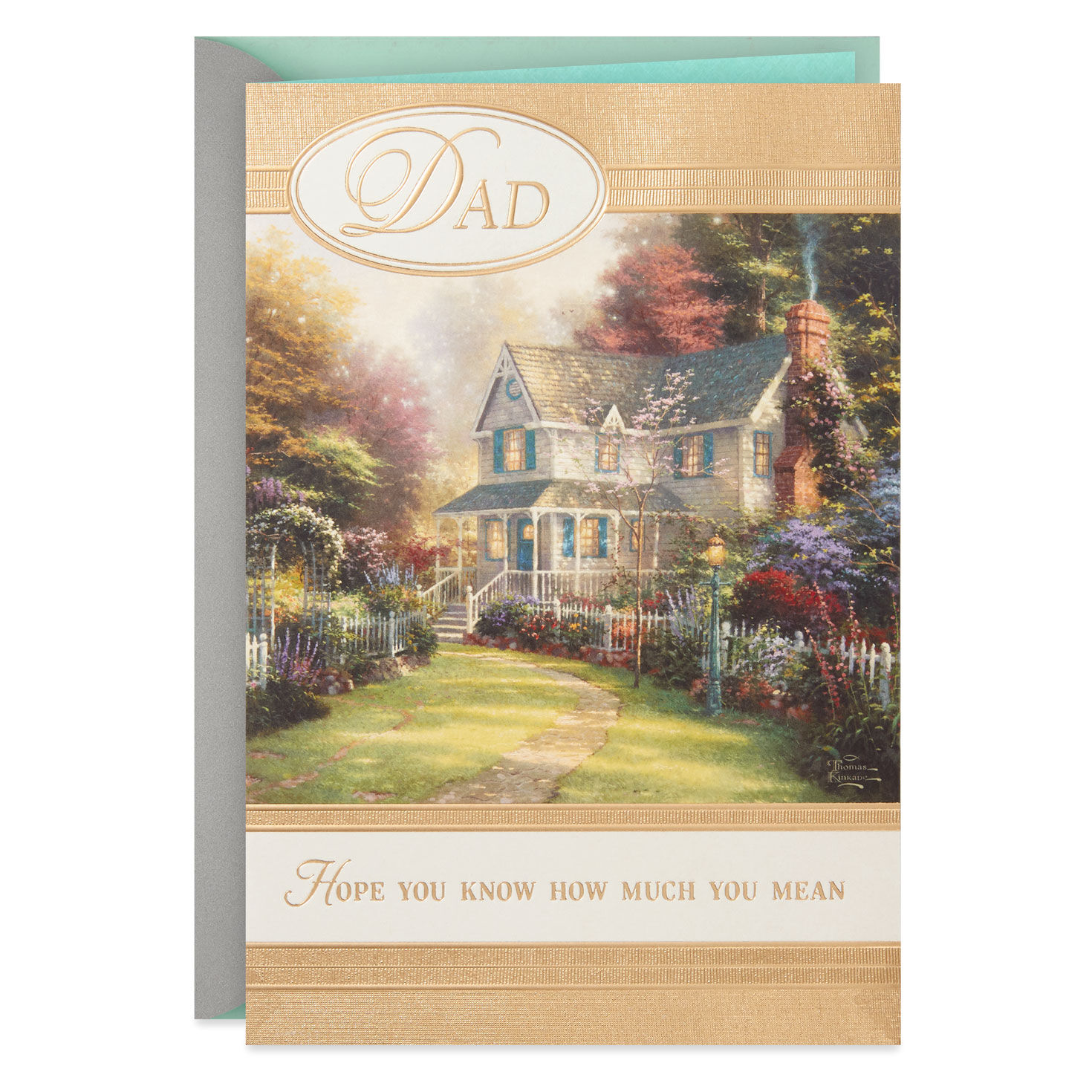 Personalised Handmade Christmas Card with gold Church .Brother//Sister//Mum//Dad