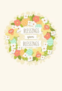 Blessed Flower Wreath Easter Card,