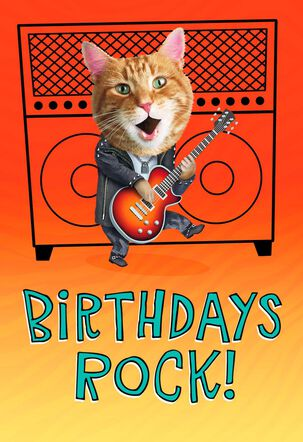 Cat Rocking Out Birthday Card
