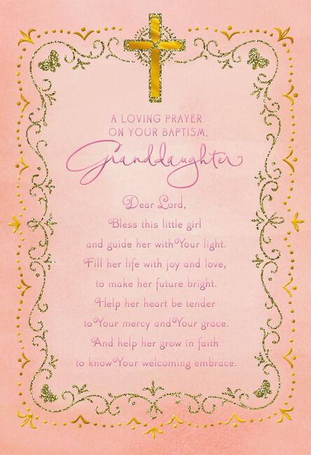 Pink cross baptism card for granddaughter greeting cards hallmark pink cross baptism card for granddaughter m4hsunfo
