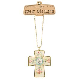 Natural Life Glitter and Gold Car Charm Cross, , large