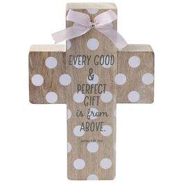 Baby Decorative Wood Cross With Pink Bow, , large