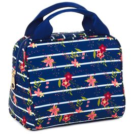 Mark & Hall Navy Floral Stripe Nylon Lunch Bag, , large