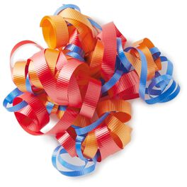 "Red, Orange and Blue Curly Ribbon Gift Bow, 6.5"", , large"
