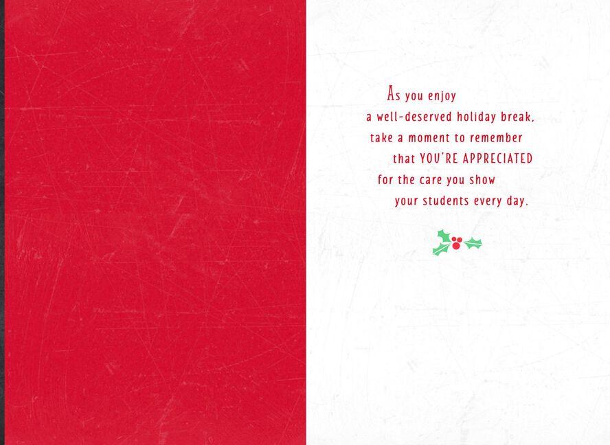 well deserved break christmas card for teacher