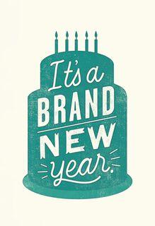 Brand New Year Birthday Cake Funny Birthday Card,