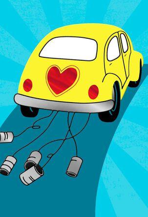 Yellow Love Bug Blank Wedding Card