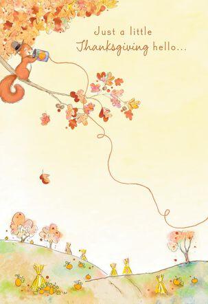 Cute Squirrel Long-Distance Hello Thanksgiving Card