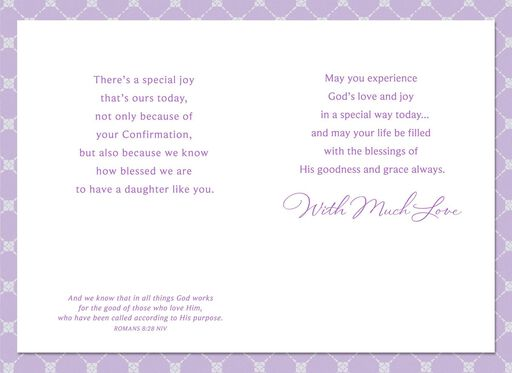Purple With White Flowers Confirmation Card for Daughter,