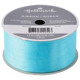 "Turquoise 1 1/2"" Sheer Ribbon, 4.3 yds., , large"