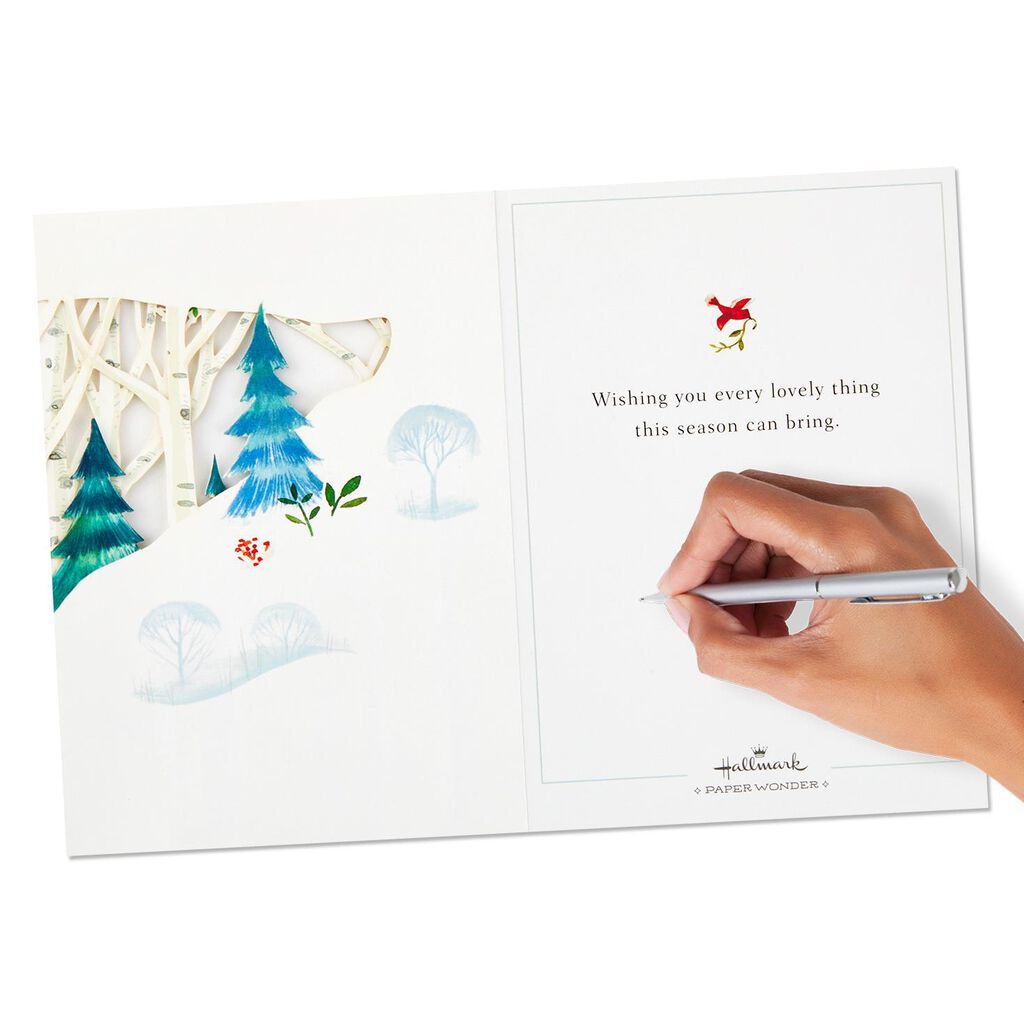 Winter Forest Scene Pop Up Shadow Box Christmas Card Greeting